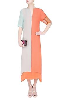 Mint Green and Salmon Colorblock Dress by Diksha Khanna