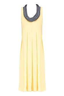 Yellow and Grey Box Pleated Knee Length Dress