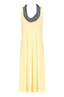 Yellow and Grey Box Pleated Knee Length Dress by Diksha Khanna