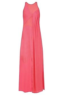 Coral Sheer Inserts and High Slit Maxi Dress by Diksha Khanna