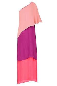 Peach, Wine and Coral Color Block One Shoulder Maxi Dress