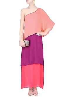 Peach, Wine and Coral Color Block One Shoulder Maxi Dress by Diksha Khanna