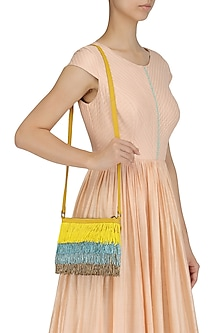 Yellow, Blue and Grey Cutdana Fringes Sling Bag
