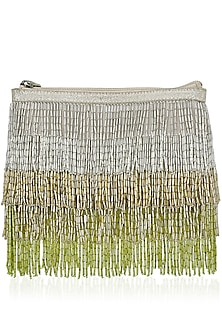 Silver and Green Ombre Cutdana Fringes Sling Bag by Diva'ni