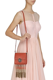 Red Ombre Cutdana Tassel Square Sling Bag by Diva'ni