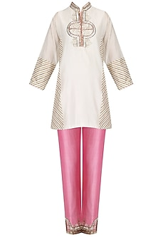 Ivory Embroidered Short Tunic and Pink Pants Set