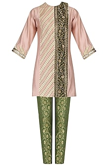 Peach Embroidered Short Tunic and Green Brocade Pants Set