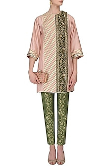 Peach Embroidered Short Tunic and Green Brocade Pants Set by Diva'ni