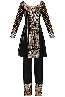 Black Embroidered Short Tunic and Pants Set
