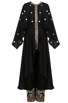 Black and Gold Embroidered High Low Kurta and Pants Set