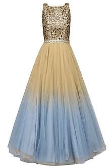 Gold and Blue Ombre Shaded Embroidered Gown