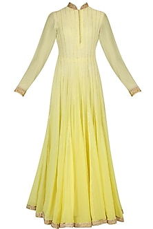 Yellow Mukaish and Gota Patti Work Anarkali Set