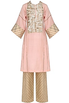 Peach Blade Sequins Embroidered Tunic and Pants Set