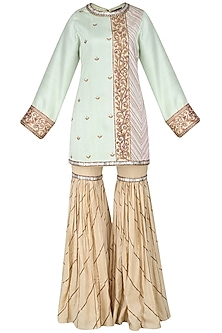 Green Embroidered Kurta and Beige Sharara Pants Set by Diva'ni