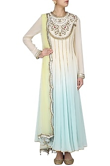 Ivory and Blue Embroidered Ombre Shaded Anarkali Set by Diva'ni