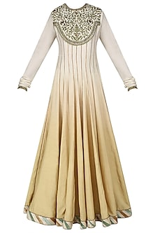 Ivory and Beige Embroidered Ombre Shaded Anarkali Set