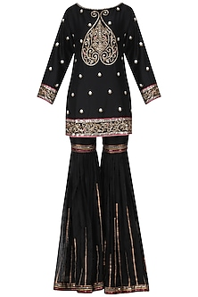 Black and Gold Embroidered Kurta and Sharara Pants Set