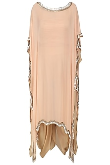 Peach Embroidered Kaftan Drape Dress