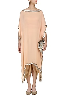 Peach Embroidered Kaftan Drape Dress by Diva'ni