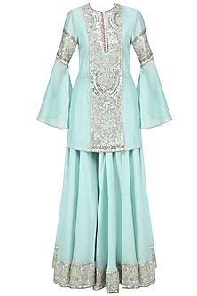 Blue Embroidered Kurta and Sharara Pants Set by Diva'ni