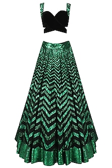 Green Sequins Embroidered Lehenga with Black Blouse