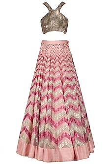 Pink and Gold Sequinned Lehenga Skirt