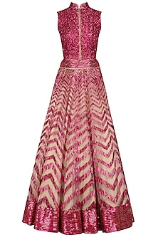 Pink sequins and feather embroidered dress