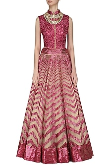 Pink sequins and feather embroidered dress by Diva'ni