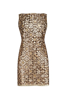 Gold Sequins Embellished Short Dress by Diva'ni