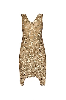 Gold Sequins Embellished Sleevess Dress by Diva'ni
