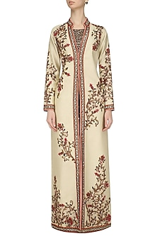 Ivory Floral Embroidered Jacket and Hot Pants Set by Diva'ni