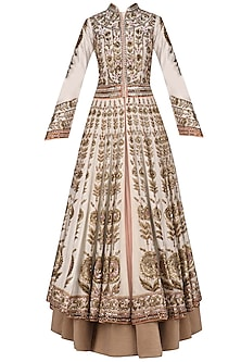 Ivory Floral Embroidered Anarkali and Skirt Set by Diva'ni