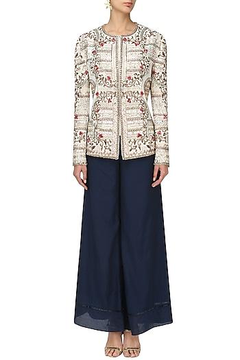 Ivory Zardozi Floral Jacket