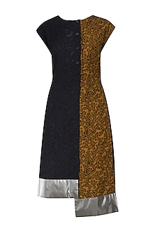 Navy Blue and Mustard Asymmetric Jacquared Panelled Dress by Dhruv Kapoor