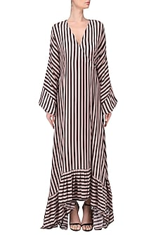 Blush Pink and black striped maxi wrap dress by Dhruv Kapoor