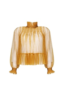 Mustard pleated crop top by Dhruv Kapoor