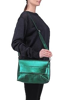 Teal metallic sling bag by Dhruv Kapoor