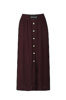 Wine Straight Fit Skirt