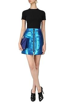 Metallic Blue Double Pocket Trinket Skirt by Dhruv Kapoor
