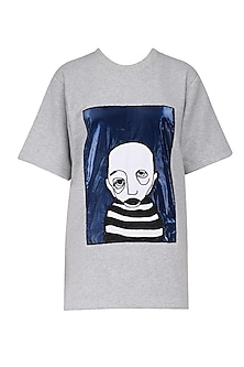 Melange Handcrafted Face Patch T- Shirt