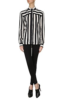 Black Striped Padded Shirt by Dhruv Kapoor