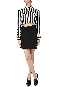 Black Striped Padded Cropped Top by Dhruv Kapoor