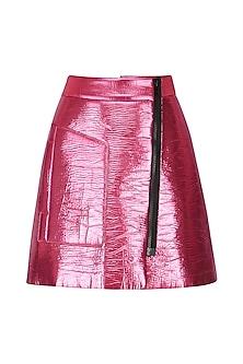 Metallic Pink Overlap Mini Skirt by Dhruv Kapoor