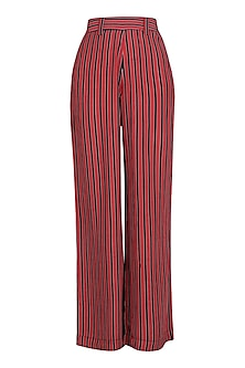 Red and Black Striped Wide Leg Pants