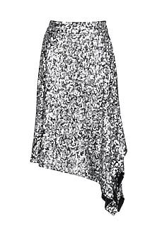 Silver Sequins Asymmetric Skirt