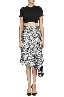 Silver Sequins Asymmetric Skirt by Dhruv Kapoor