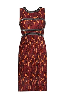 Orange Printed Embroidered Dress