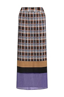 Multicolor Check Panelled Skirt