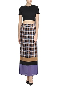 Multicolor Check Panelled Skirt by Dhruv Kapoor