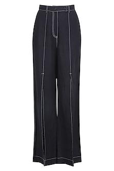 Navy Blue High Waist Pants by Dhruv Kapoor